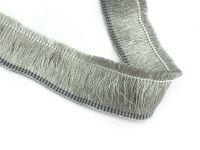 Frędzle na taśmie szare 26 mm - 20 cm