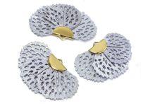 Wachlarzyk liliowy 25x41 mm ażurowy w złotym okuciu - 1 sztuka