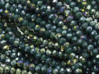 Szklane oponki fasetowane ciemna metaliczna zieleń 3x2 mm - sznur