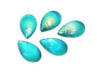 Kaboszon tęczowy muszelka 12.5x8 mm niebieski - 4 sztuki