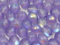 Round Beads Satin Violet AB 8 mm - 10 sztuk